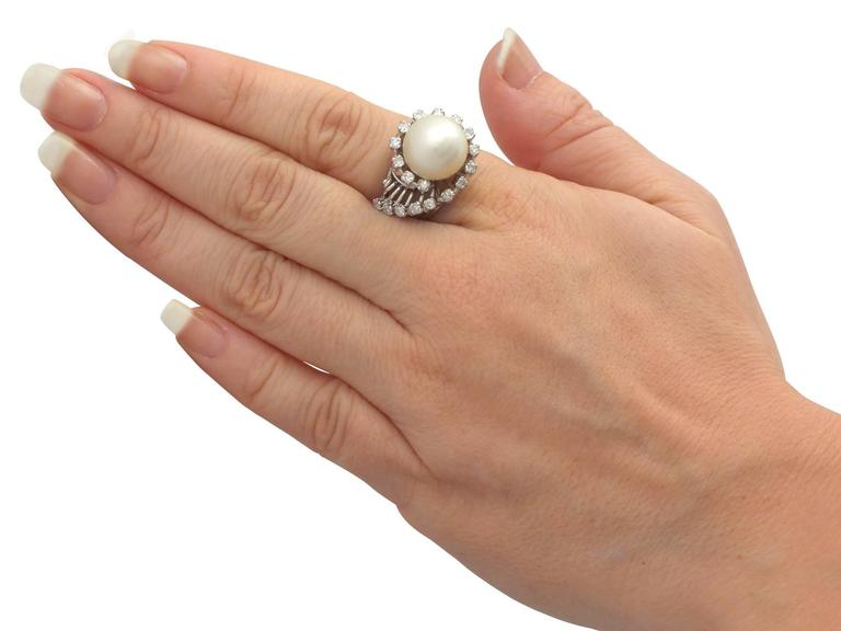 1960s South Sea Pearl and Diamond Platinum Cocktail Ring For Sale 2