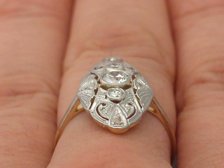 573fc7d817f63 1920s Art Deco Diamond and White Gold and Yellow Gold Cocktail Ring