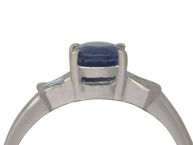 1990s 1.06 Carat Sapphire and Diamond White Gold Cocktail Ring  2