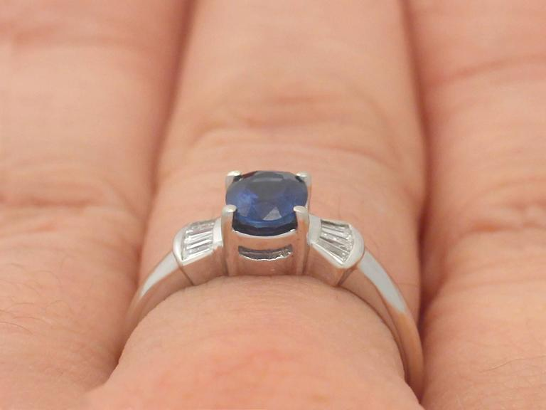 1990s 1.06 Carat Sapphire and Diamond White Gold Cocktail Ring  9