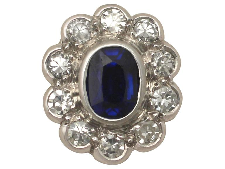 Antique 1920s 0.84Ct Sapphire Diamond 18k Gold Stud Earrings  For Sale 1