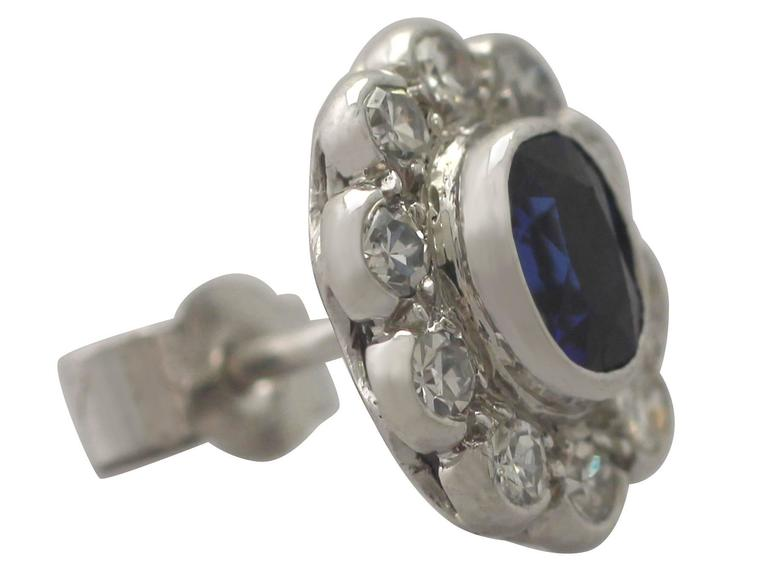 Antique 1920s 0.84Ct Sapphire Diamond 18k Gold Stud Earrings  For Sale 2