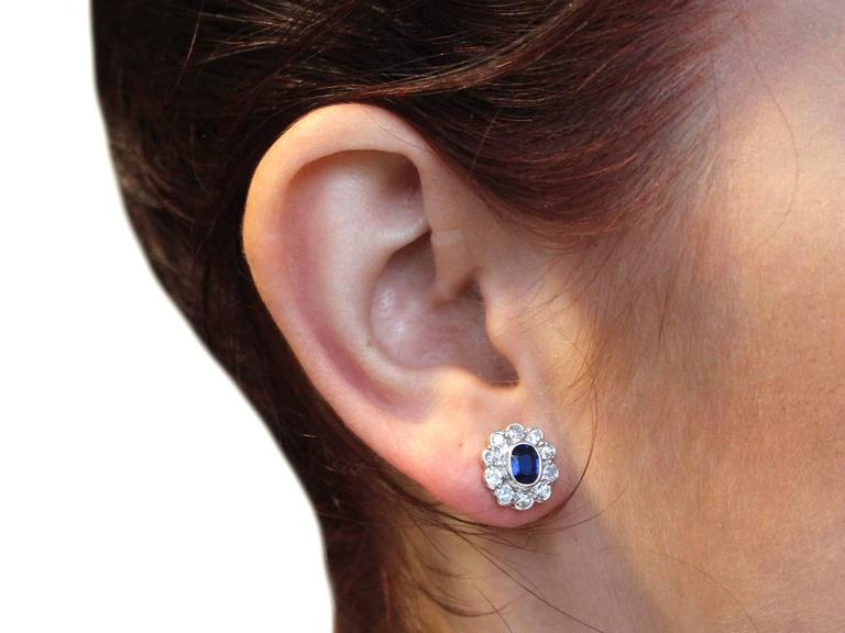 Antique 1920s 0.84Ct Sapphire Diamond 18k Gold Stud Earrings  For Sale 5