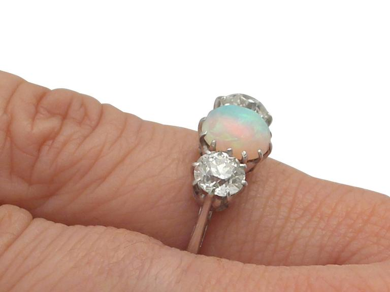 Antique Opal and 1.08 Carat Diamond Gold Trilogy Ring For Sale 3