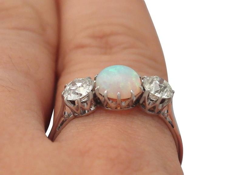 Antique Opal and 1.08 Carat Diamond Gold Trilogy Ring For Sale 4