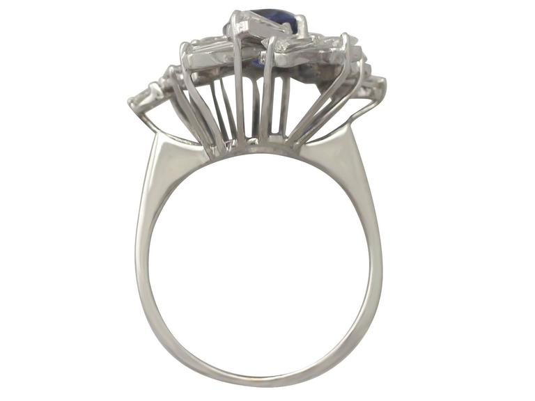 1970s 2.45 Carat Sapphire and 2.23 Carat Diamond White Gold Cocktail Ring For Sale 1