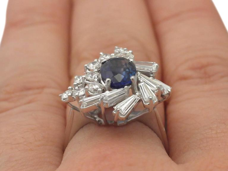 1970s 2.45 Carat Sapphire and 2.23 Carat Diamond White Gold Cocktail Ring For Sale 5
