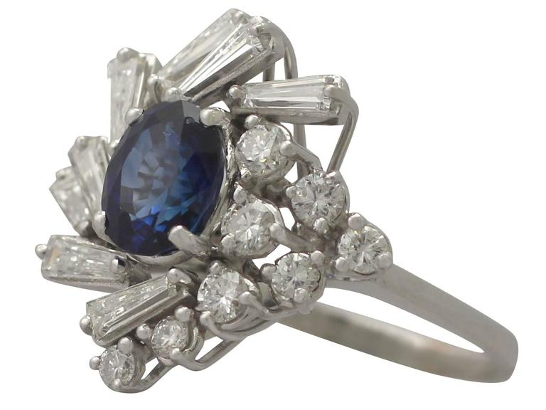 1970s 2.45 Carat Sapphire and 2.23 Carat Diamond White Gold Cocktail Ring In Excellent Condition For Sale In Jesmond, Newcastle Upon Tyne