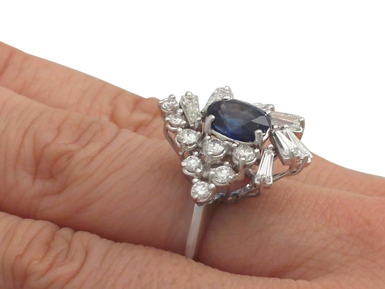 1970s 2.45 Carat Sapphire and 2.23 Carat Diamond White Gold Cocktail Ring For Sale 4
