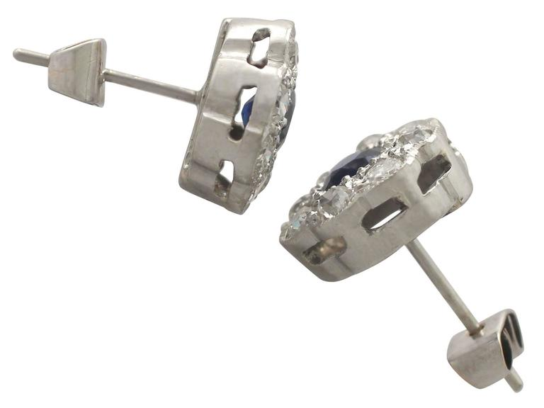 Women's or Men's Antique 1920s 0.92Ct Sapphire and 1.02Ct Diamond, 18k White Gold Stud Earrings For Sale