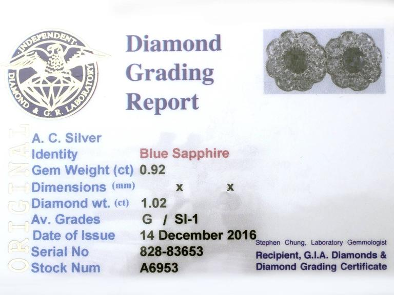 Antique 1920s 0.92Ct Sapphire and 1.02Ct Diamond, 18k White Gold Stud Earrings For Sale 4