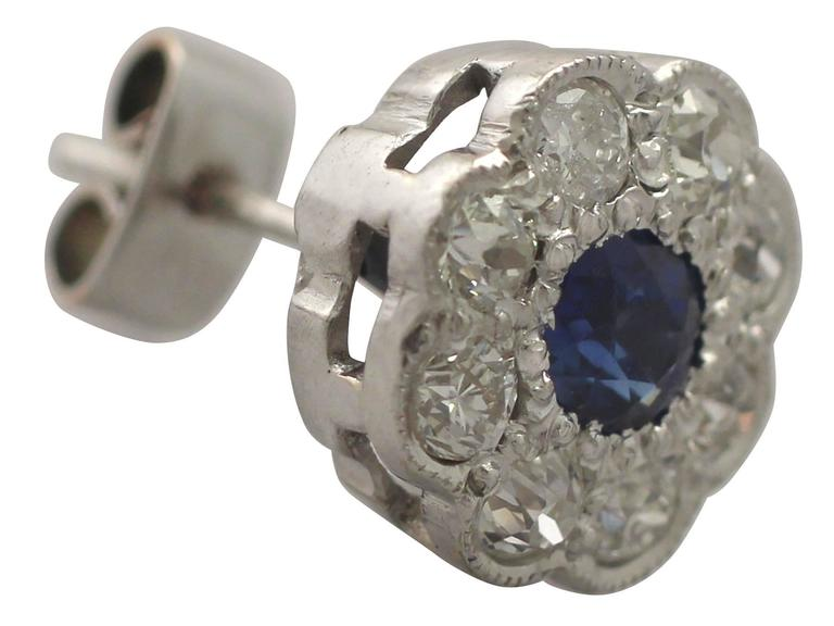Antique 1920s 0.92Ct Sapphire and 1.02Ct Diamond, 18k White Gold Stud Earrings For Sale 1