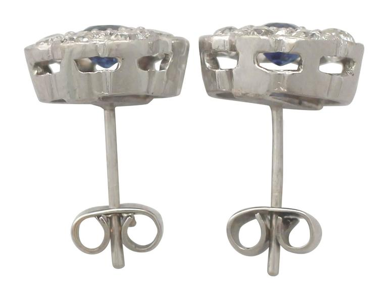 Antique 1920s 0.92Ct Sapphire and 1.02Ct Diamond, 18k White Gold Stud Earrings In Excellent Condition For Sale In Jesmond, Newcastle Upon Tyne