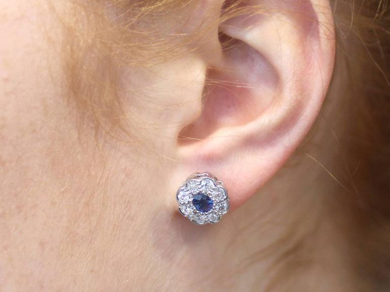 Antique 1920s 0.92Ct Sapphire and 1.02Ct Diamond, 18k White Gold Stud Earrings For Sale 5