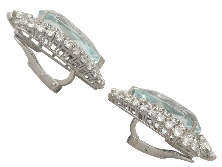 1940s 21.12 Carat Aquamarine and 5.86 Carat Diamond White Gold Earrings For Sale 2