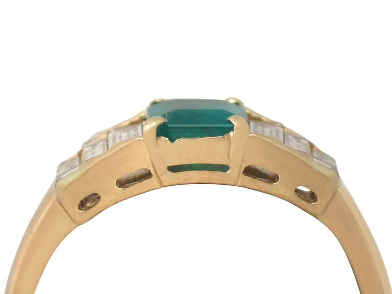 1999 Emerald and Diamond Yellow Gold Cocktail Ring 2