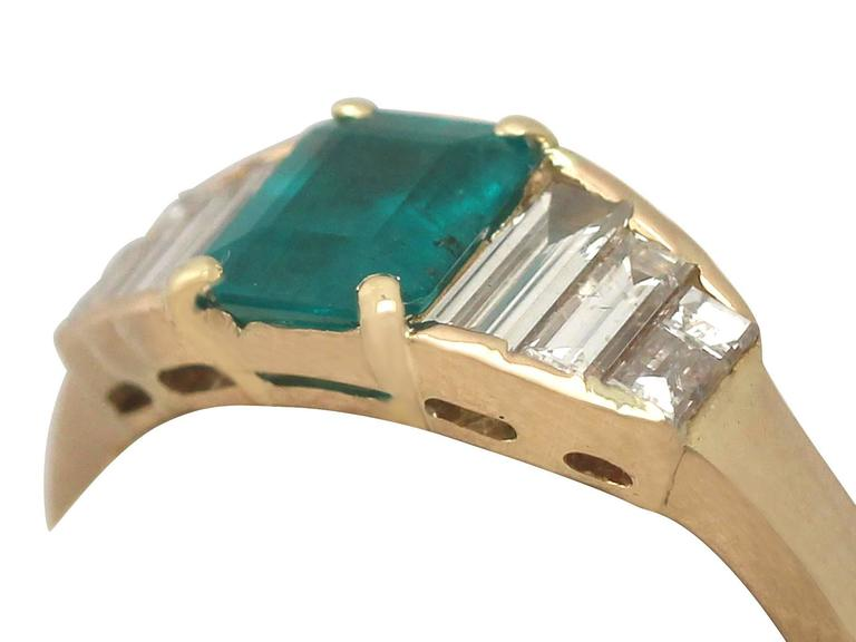 1999 Emerald and Diamond Yellow Gold Cocktail Ring 3