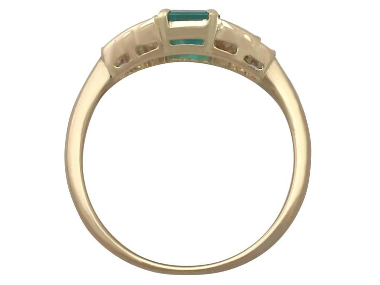 1999 Emerald and Diamond Yellow Gold Cocktail Ring 5