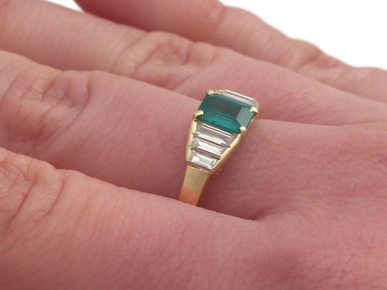 1999 Emerald and Diamond Yellow Gold Cocktail Ring 8