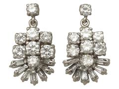 1.28 Carat Diamond and White Gold Drop Earrings 1960s