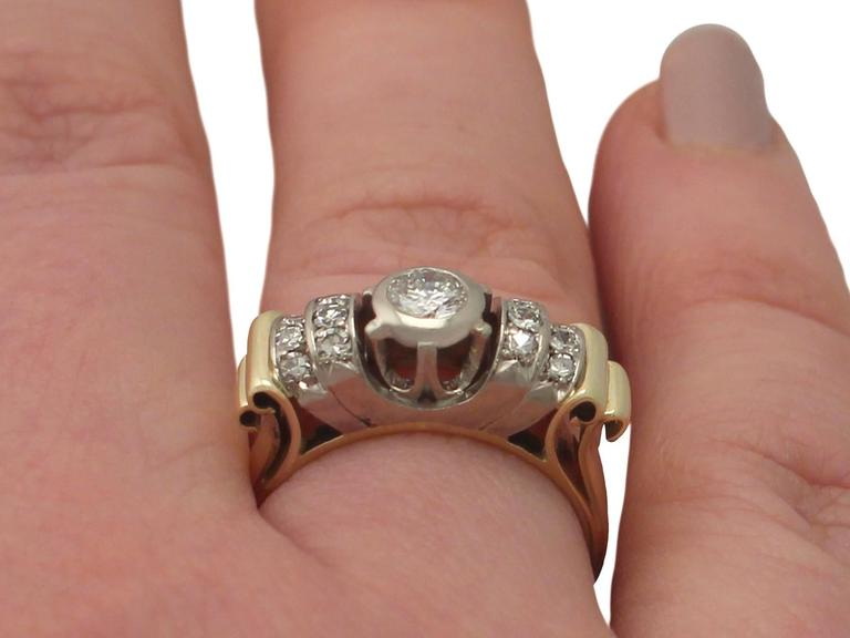 1940s Diamond and Yellow Gold Cocktail Ring 9