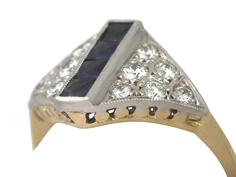 Retro 1970s Sapphire and Diamond Yellow Gold Cocktail Ring For Sale