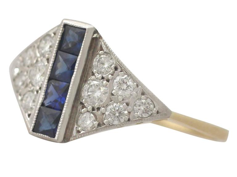 1970s Sapphire and Diamond Yellow Gold Cocktail Ring In Excellent Condition For Sale In Jesmond, Newcastle Upon Tyne