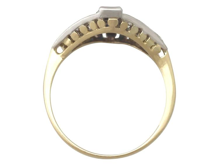 Women's 1970s Sapphire and Diamond Yellow Gold Cocktail Ring For Sale