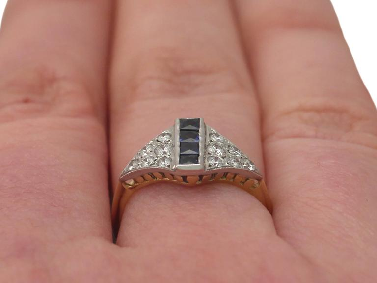 1970s Sapphire and Diamond Yellow Gold Cocktail Ring For Sale 4