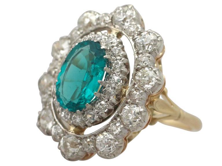 1930s 3.12 Carat Emerald and 3.15 Carat Diamond Yellow Gold Cocktail Ring 4
