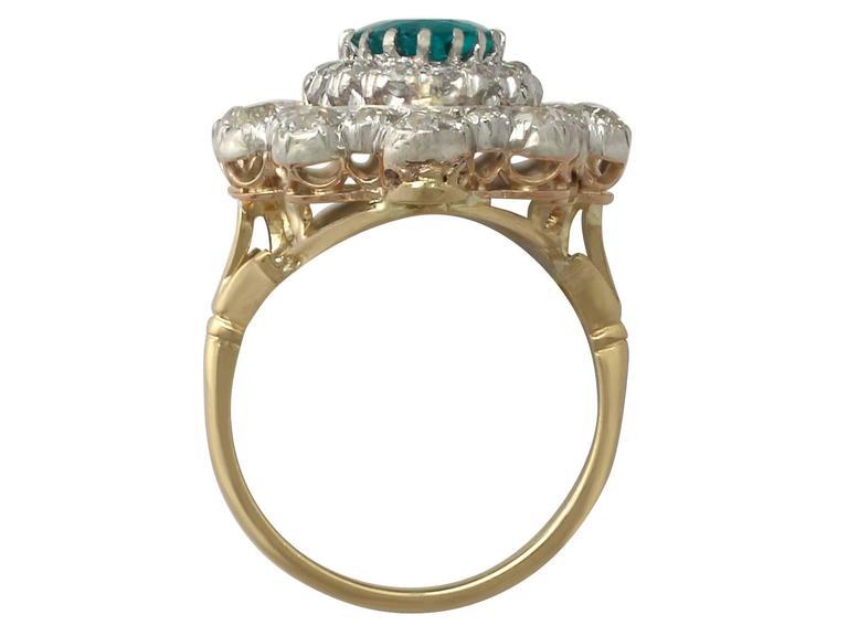 1930s 3.12 Carat Emerald and 3.15 Carat Diamond Yellow Gold Cocktail Ring 5