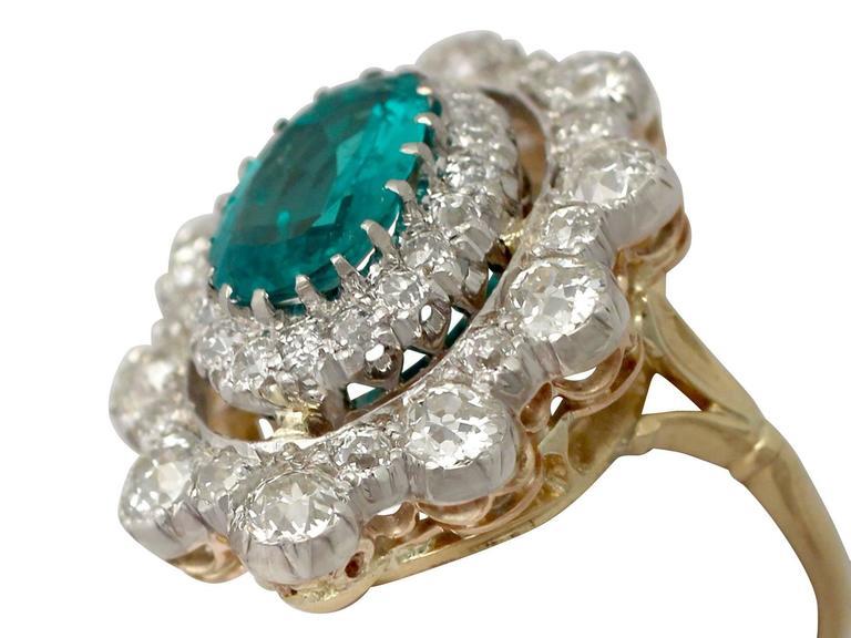 1930s 3.12 Carat Emerald and 3.15 Carat Diamond Yellow Gold Cocktail Ring 3