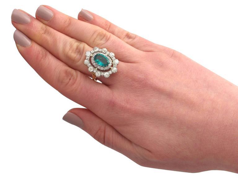 1930s 3.12 Carat Emerald and 3.15 Carat Diamond Yellow Gold Cocktail Ring 7