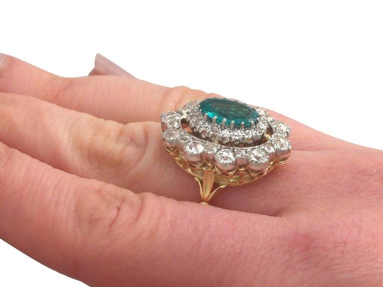 1930s 3.12 Carat Emerald and 3.15 Carat Diamond Yellow Gold Cocktail Ring 8