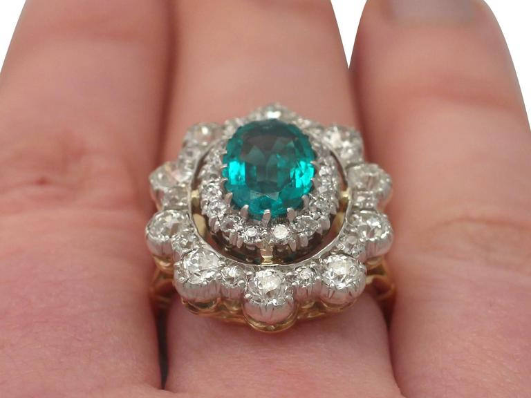 1930s 3.12 Carat Emerald and 3.15 Carat Diamond Yellow Gold Cocktail Ring 9
