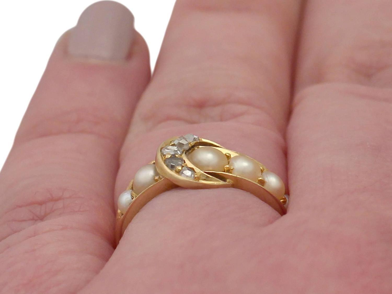 1910s 0.15 Carat Diamond and Pearl, 18 Carat Yellow Gold \'Buckle ...