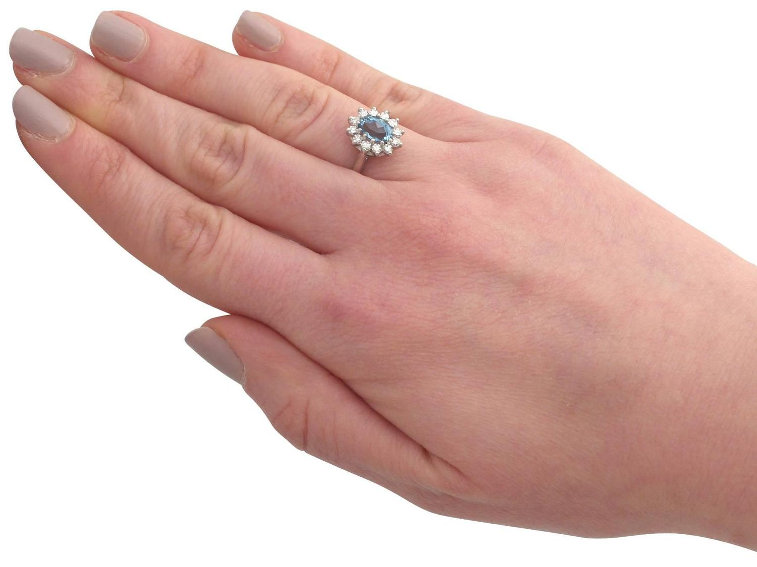 1973 1.07 Carat Aquamarine and Diamond White Gold Coctail Ring For ...