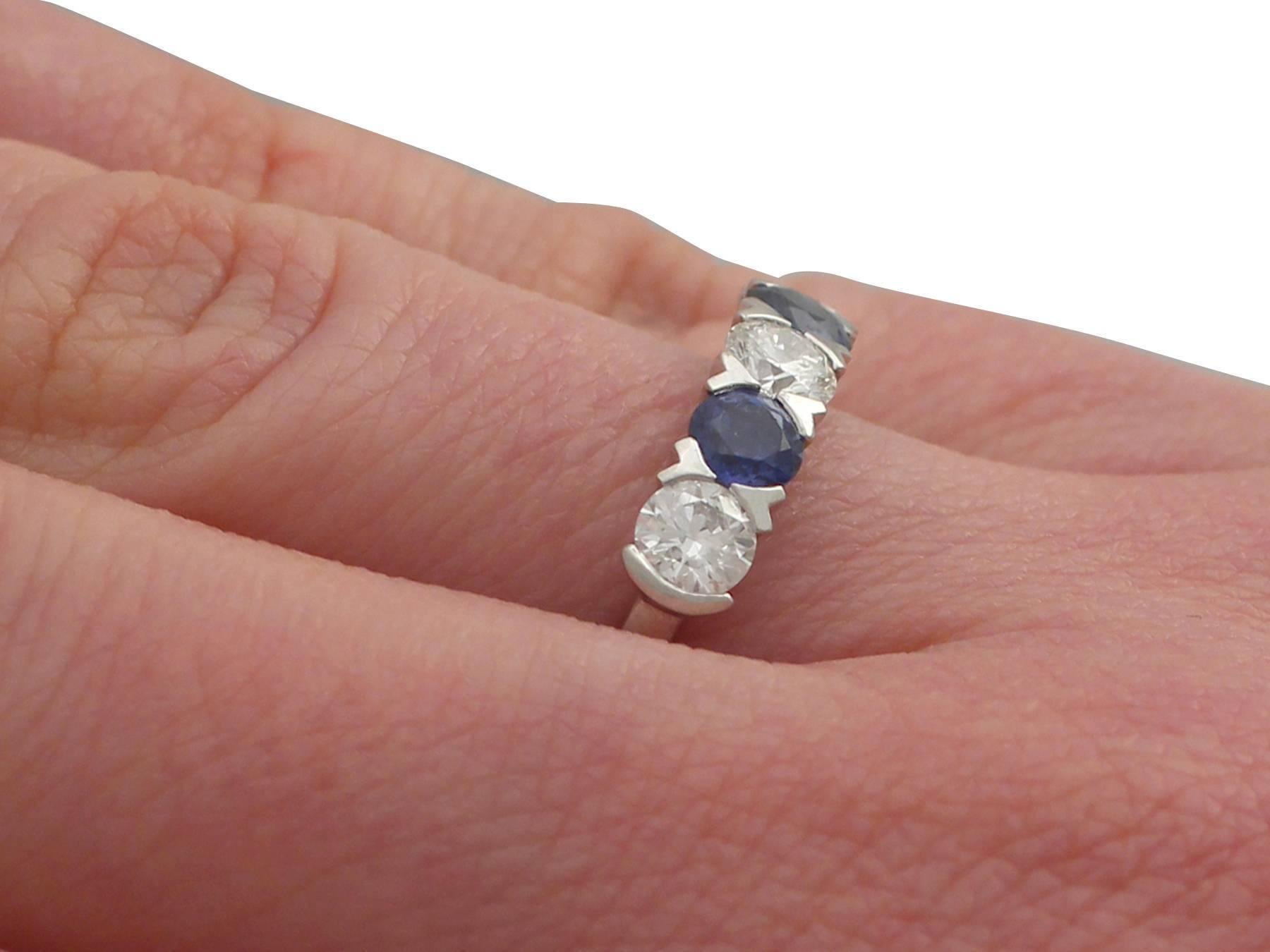 2016 0.62 Carat Sapphire and 0.95 Carat Diamond, Platinum Five Stone ...