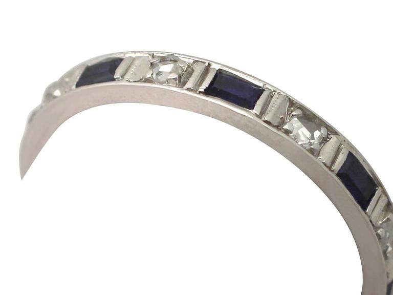 Art Deco 1950s 0.30 Carat Sapphire and 0.27 Carat Diamond, 18 k White Gold Eternity Ring For Sale