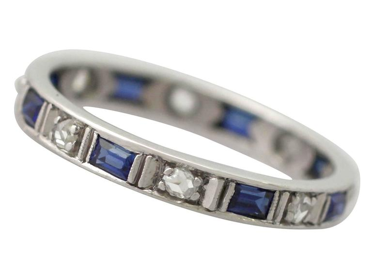 1950s 0.30 Carat Sapphire and 0.27 Carat Diamond, 18 k White Gold Eternity Ring In Excellent Condition For Sale In Jesmond, GB