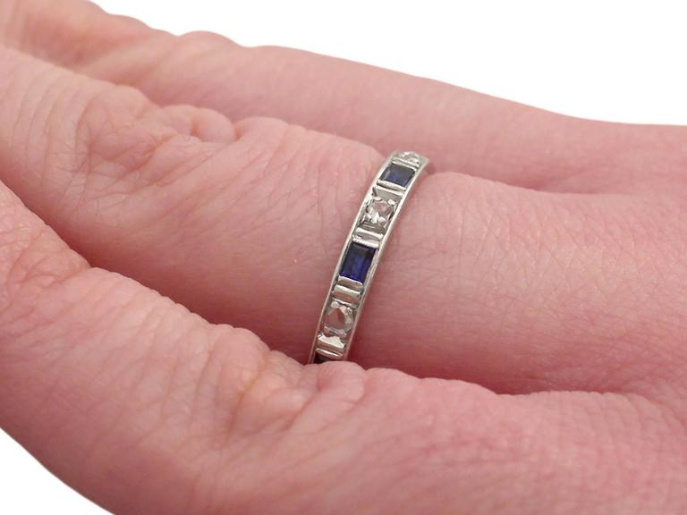 1950s 0.30 Carat Sapphire and 0.27 Carat Diamond, 18 k White Gold Eternity Ring For Sale 3