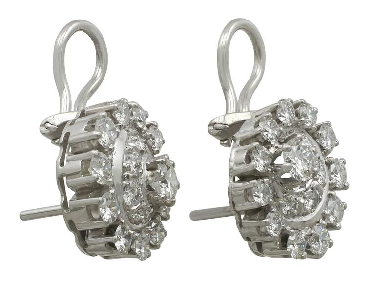 1980s 3.05 Carat Diamond White Gold and Platinum Set Cluster Earrings 6