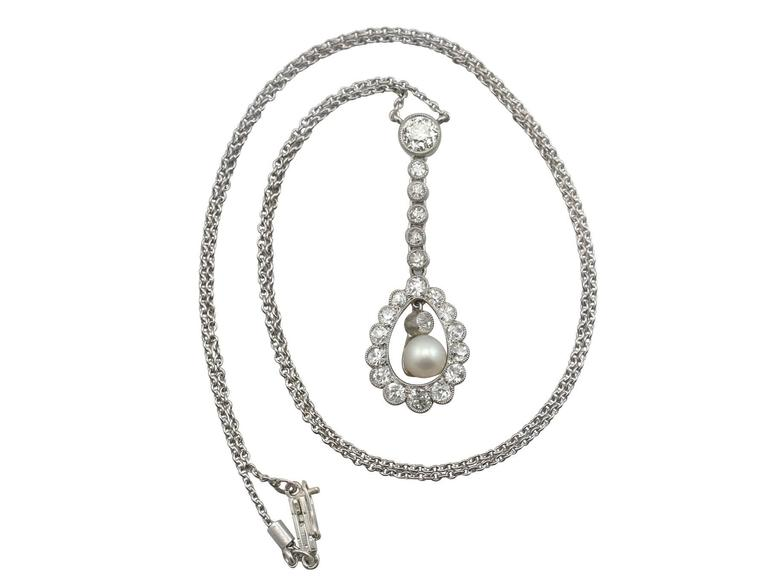 1910s 1.10 Carat Diamond Pearl and Platinum Necklace 2