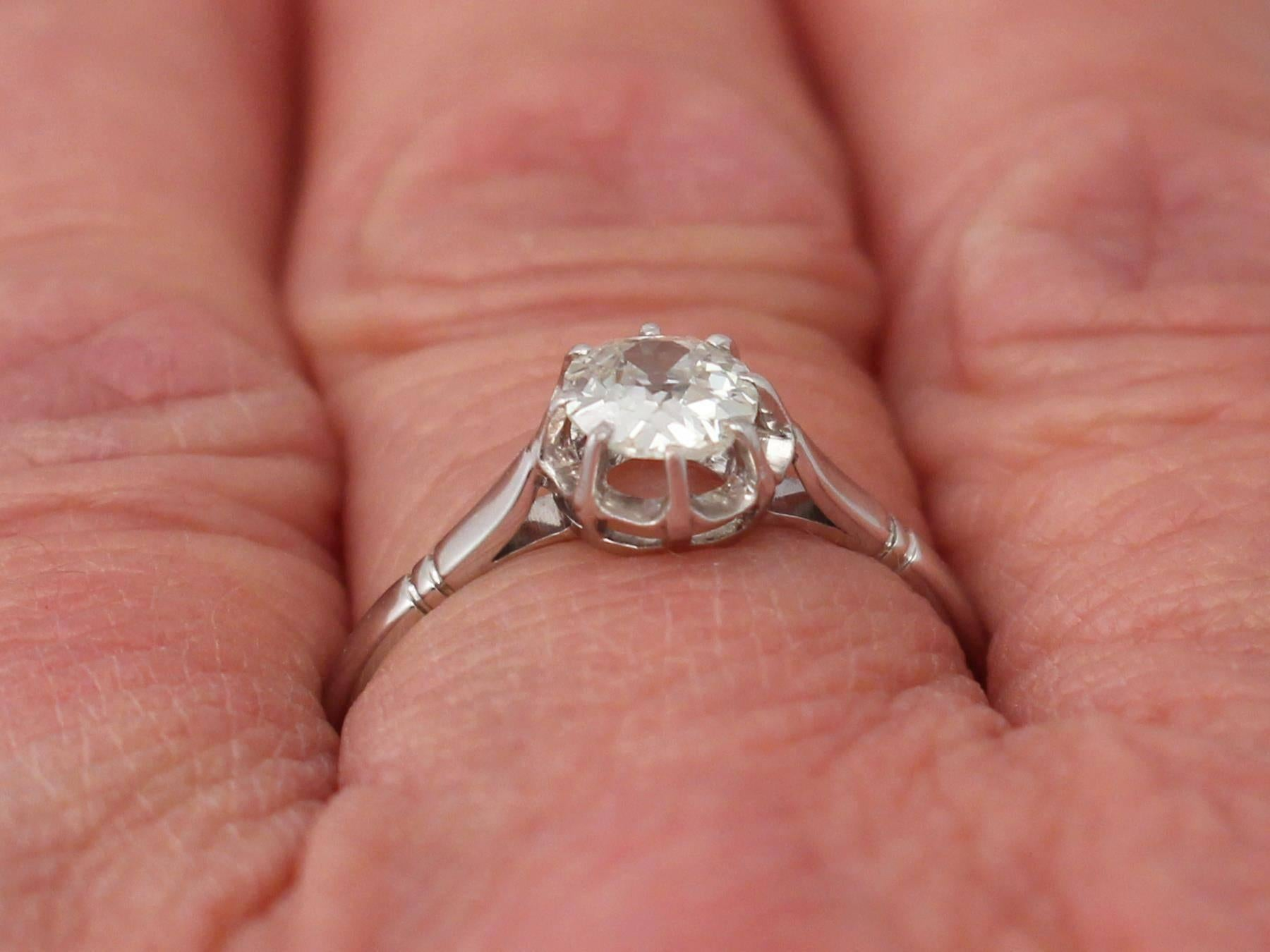 1910s Antique Diamond White Gold and Platinum Set Solitaire Ring For ...
