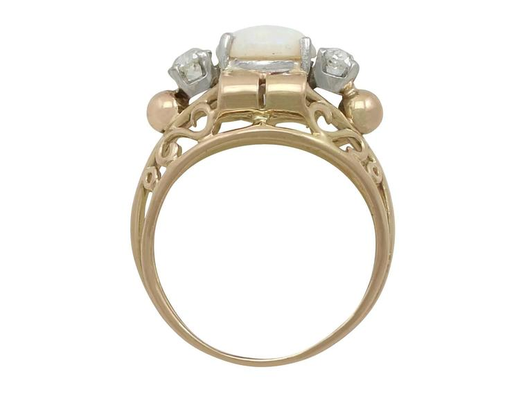 Women's 1930s French 1.82 Carat Opal and Diamond Yellow Gold Ring For Sale