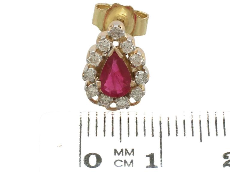 1980s 1.20 Carat Ruby Diamond Yellow Gold Cluster Earrings 7