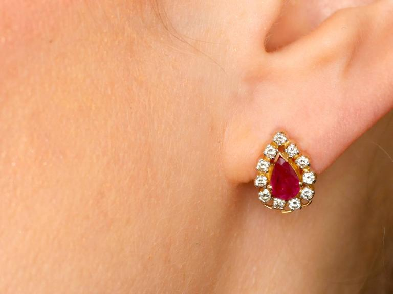 1980s 1.20 Carat Ruby Diamond Yellow Gold Cluster Earrings 9