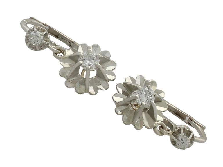 Women S Or Men Antique Diamond And White Gold Drop Earrings 1930s For