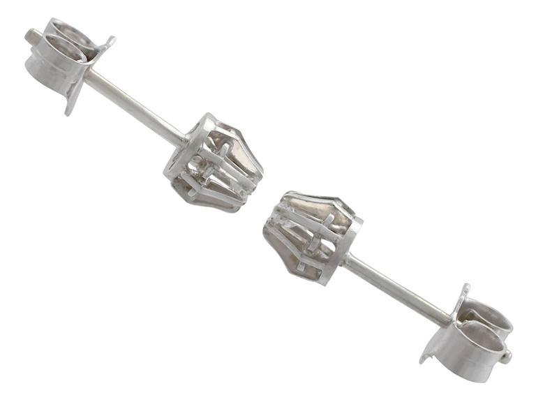 Women's or Men's 1940s Diamond White Gold Stud Earrings For Sale