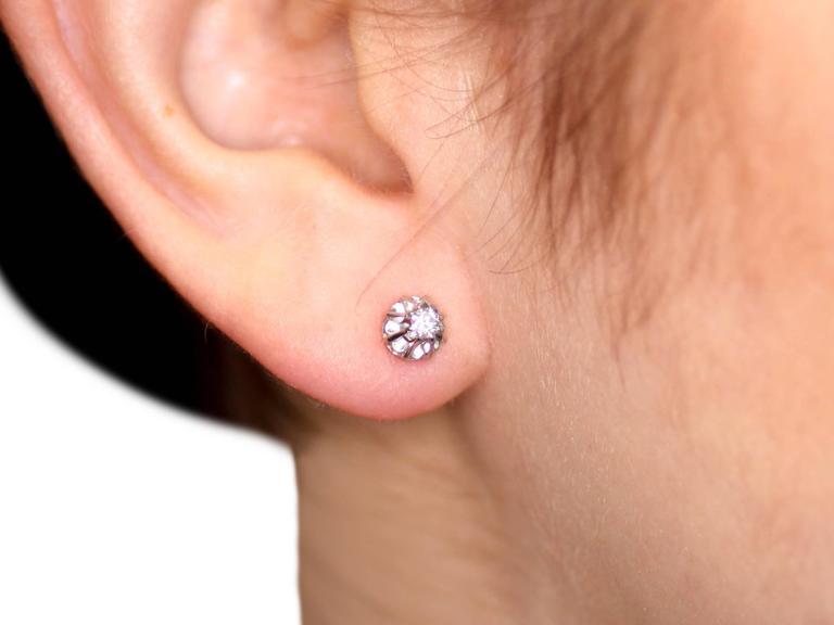 1940s Diamond White Gold Stud Earrings 9